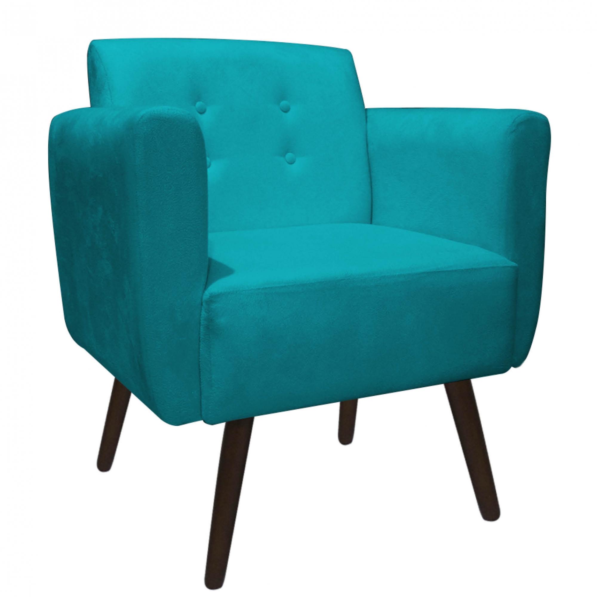 Kit 2 Poltrona Duda Decoraçâo Pé Palito Cadeira Recepção Escritório Clinica D'Classe Decor Suede Azul Tiffany