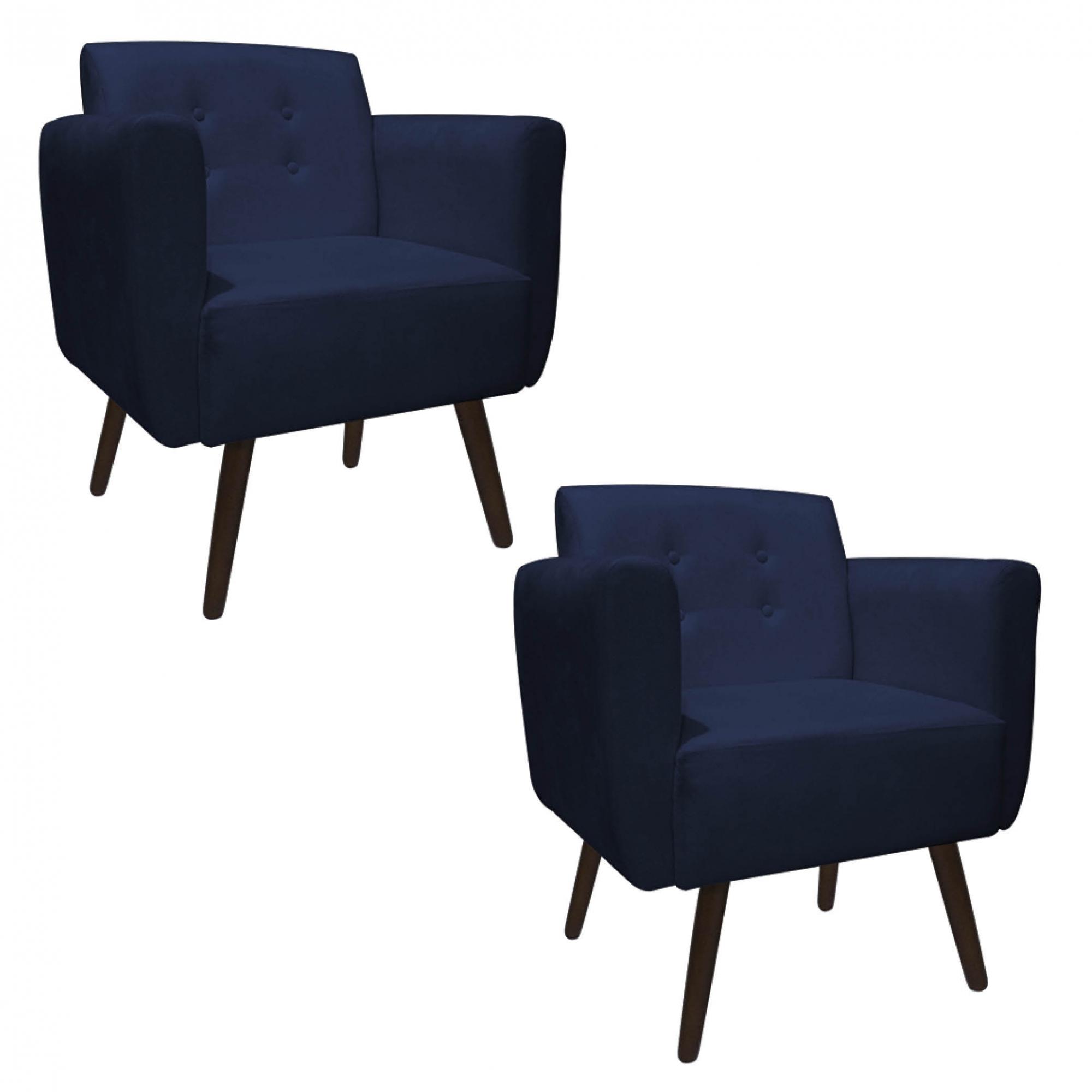 Kit 2 Poltrona Duda Decoraçâo Pé Palito Cadeira Recepção Escritório Clinica D'Classe Decor Suede Azul Marinho