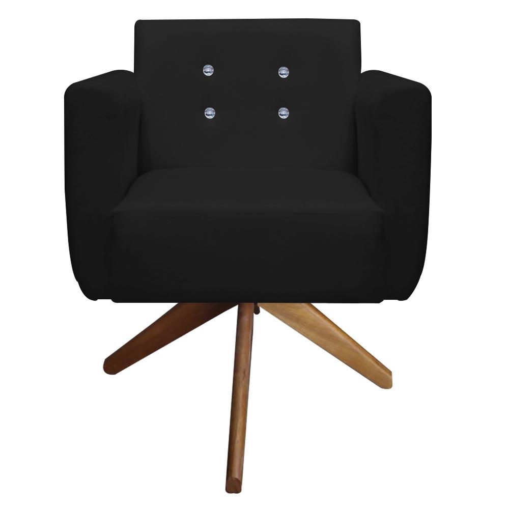Kit 2 Poltrona Duda Strass Base Giratória Cadeira Escritório Consultório Salão D'Classe Decor Suede Preto