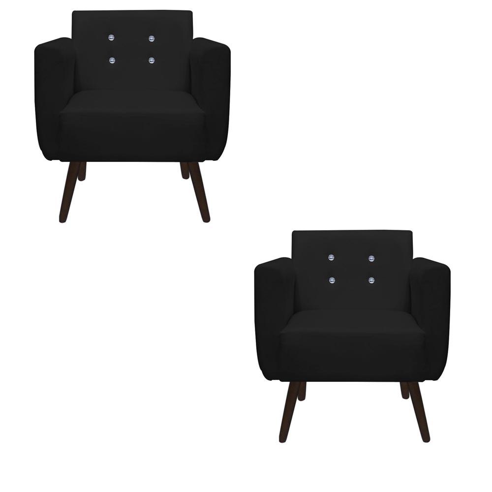 Kit 2 Poltrona Duda Strass Decoração Cadeira Escritório Consultório Salão D'Classe Decor Suede Preto