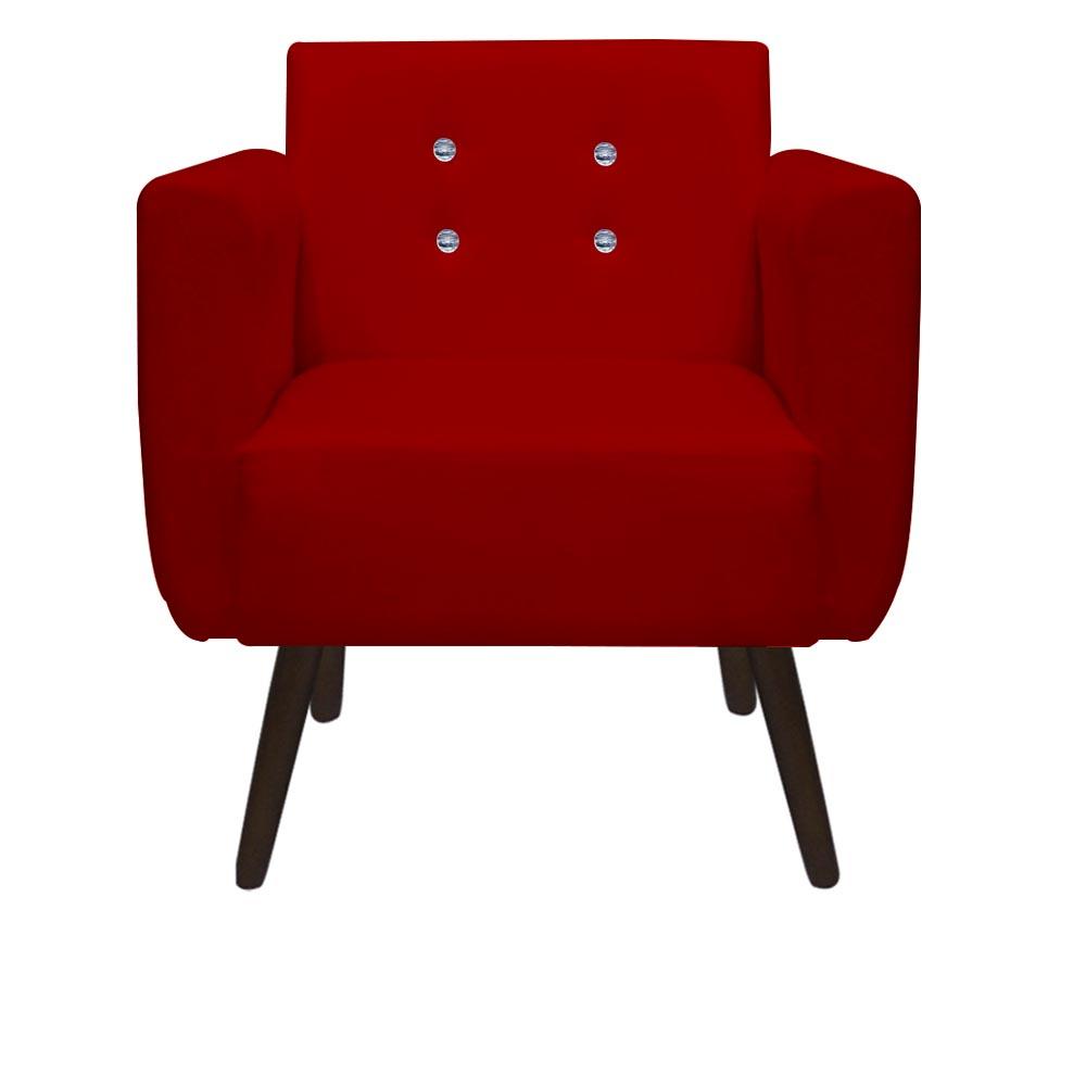 Kit 2 Poltrona Duda Strass Decoração Cadeira Escritório Consultório Salão D'Classe Decor Suede Vermelho