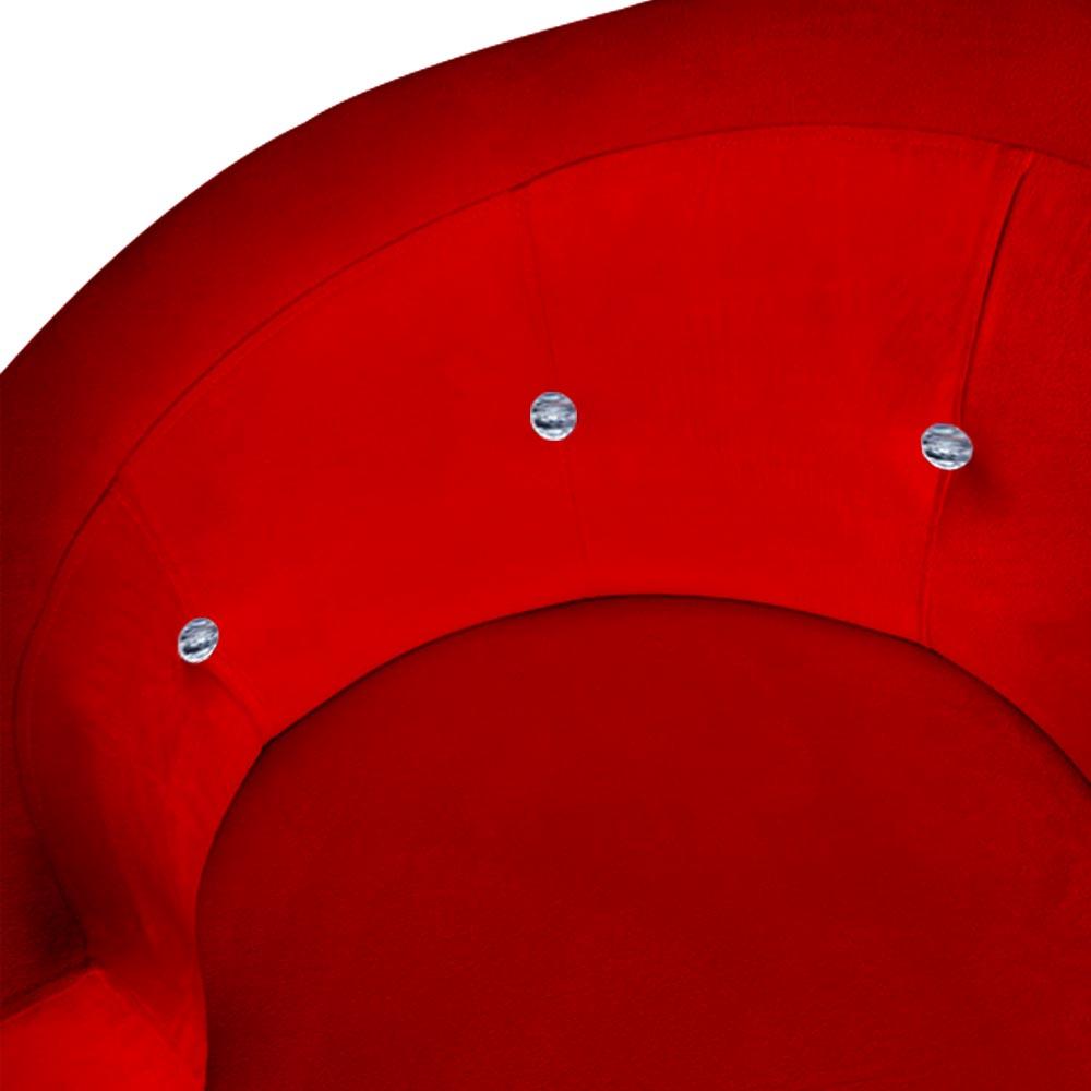 Kit 2 Poltrona Giovana Strass Decoração Base Giratória Clinica Escritório Recepção Suede Vermelho
