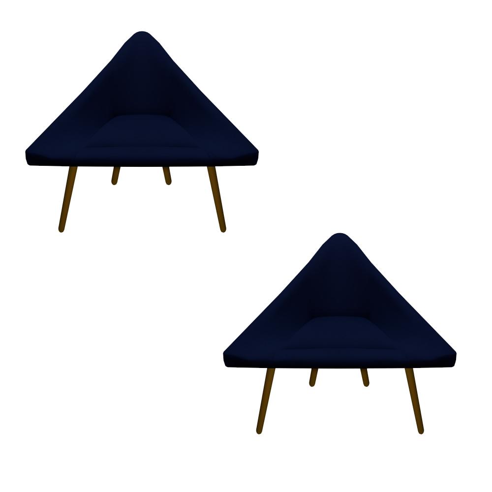 Kit 2 Poltrona Ibiza Triângulo Decoração Sala Recepção Escritório Quarto Cadeira Sued. Azul Marinho