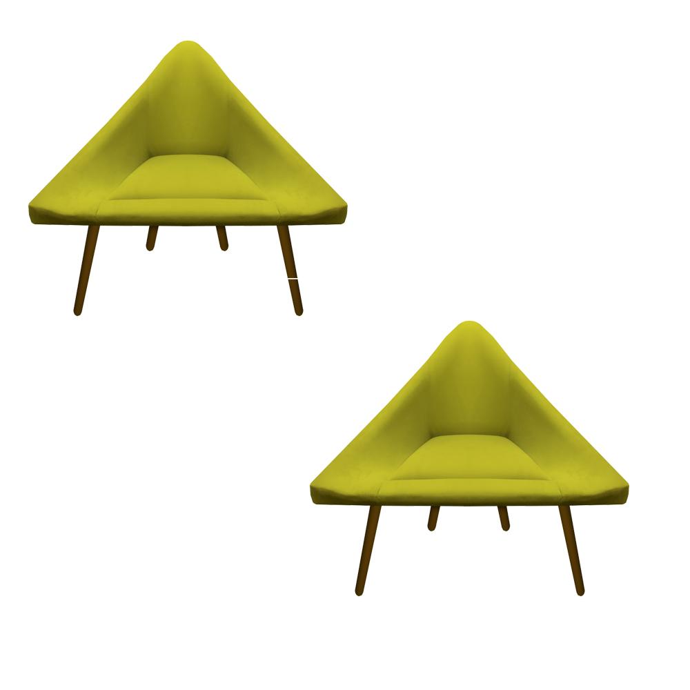 Kit 2 Poltrona Ibiza Triângulo Decoração Sala Recepção Escritório Quarto Cadeira Suede Amarelo