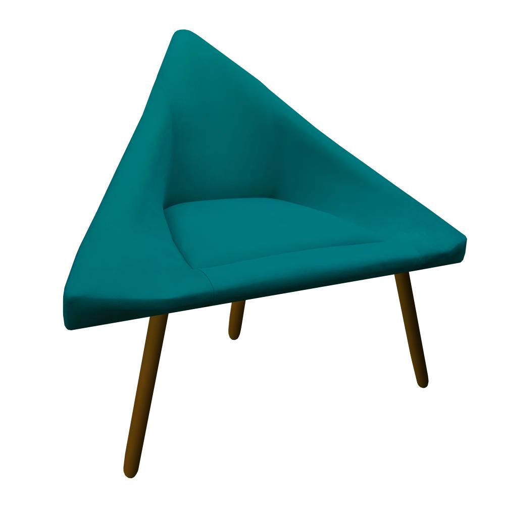 Kit 2 Poltrona Ibiza Triângulo Decoração Sala Recepção Escritório Quarto Cadeira Suede Azul Tiffany