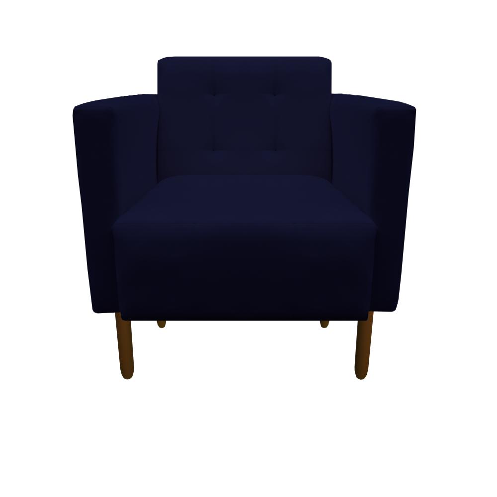 Kit 2 Poltrona Isa Decoração Clinica Recepção Escritório Quarto Cadeira D'Classe Decor Suede Azul Marinho