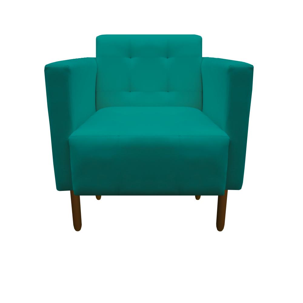 Kit 2 Poltrona Isa Decoração Clinica Recepção Escritório Quarto Cadeira D'Classe Decor Suede Azul Tiffany