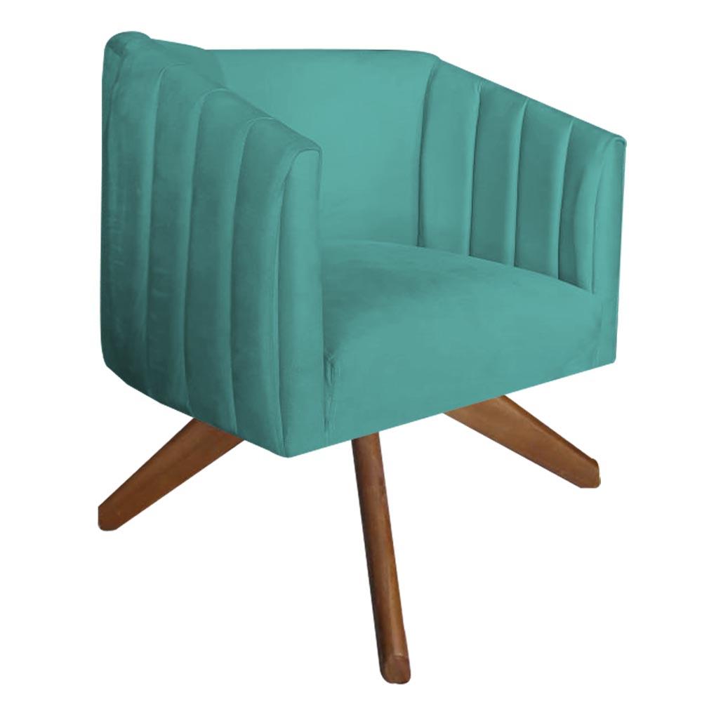 Kit 2 Poltrona Julia Decoração Base Giratória Clinica Cadeira Escritório Recepção Suede Az Tiffany
