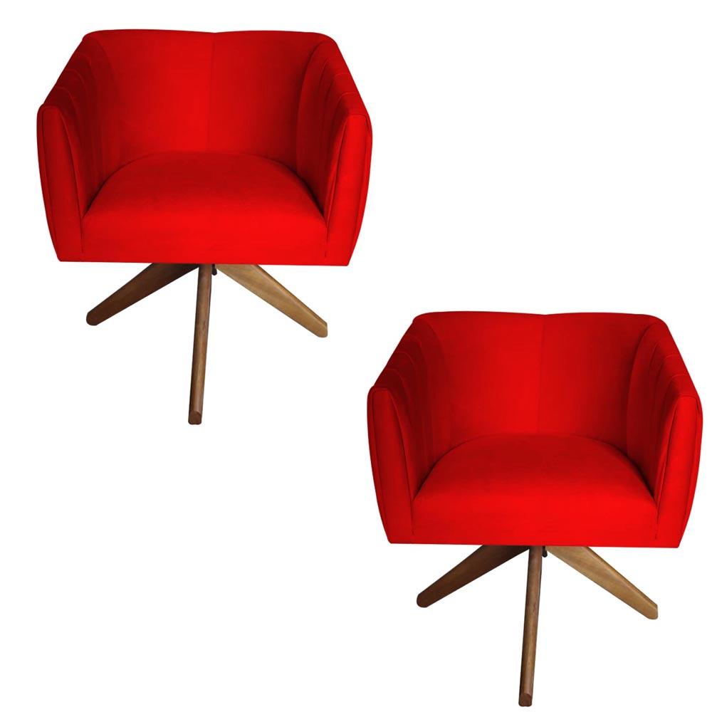 Kit 2 Poltrona Julia Decoração Base Giratória Clinica Cadeira Escritório Recepção Suede Vermelho