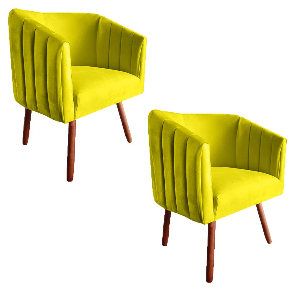 Kit 2 Poltrona Julia Decoração Salão Cadeira Escritório Recepção Estar Amamentação Suede Amarelo