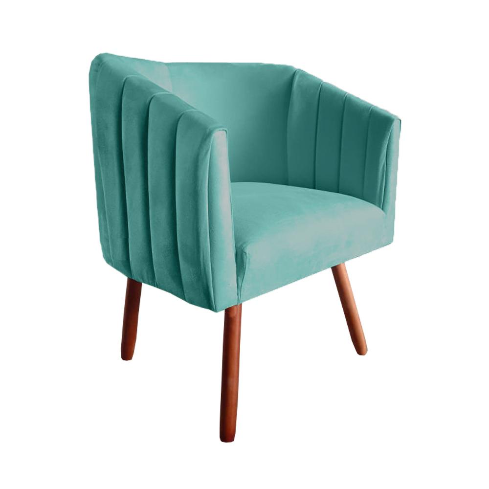 Kit 2 Poltrona Julia Decoração Salão Cadeira Escritório Recepção Sala Estar Amamentação D'Classe Decor Suede Az Tiffany