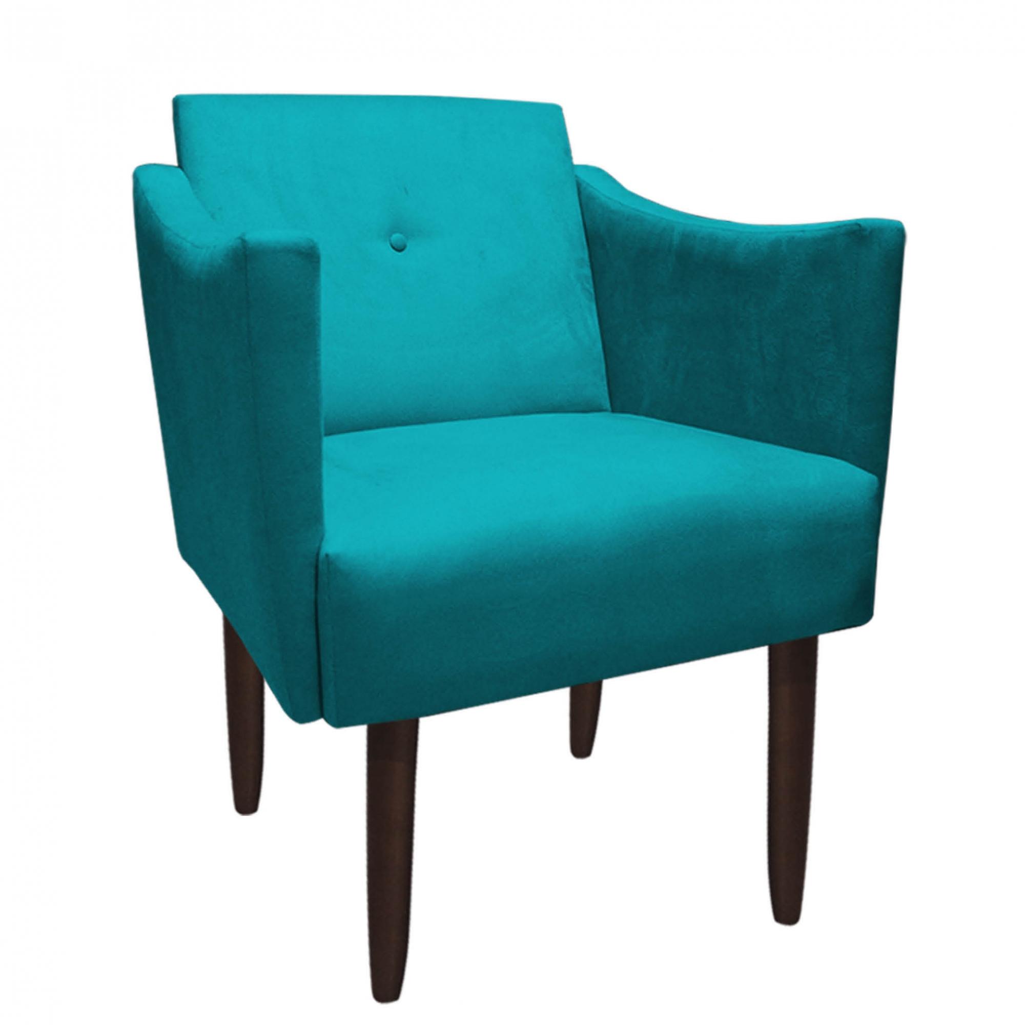 Kit 2 Poltrona Naty Decoração Escritório Salão Cadeira Recepção Escritório Sala Estar D'Classe Decor Suede Azul Tiffany