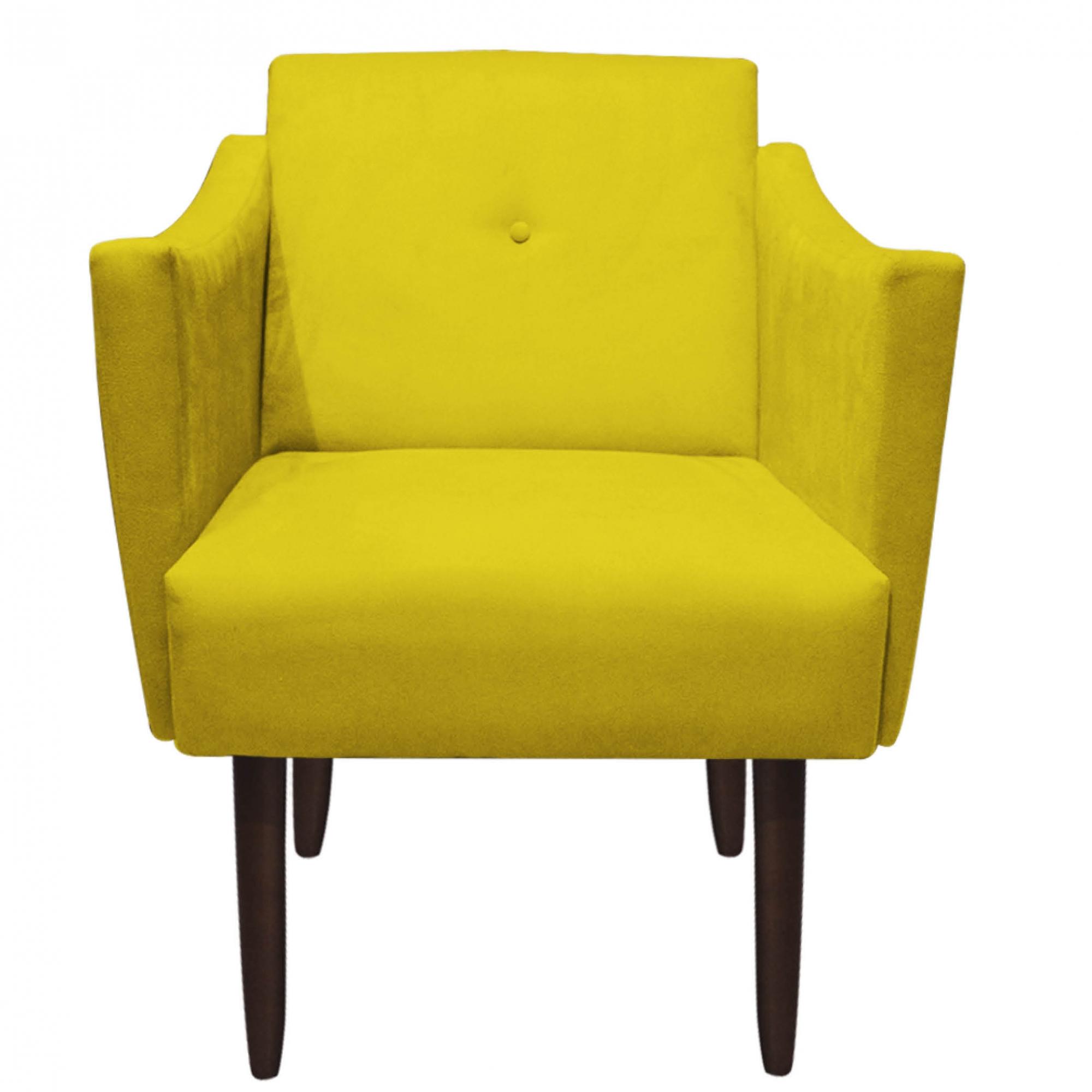 Kit 2 Poltrona Naty Decoração Escritório Salão Cadeira Recepção Escritório Sala Estar D'Classe Decor Suede Amarelo