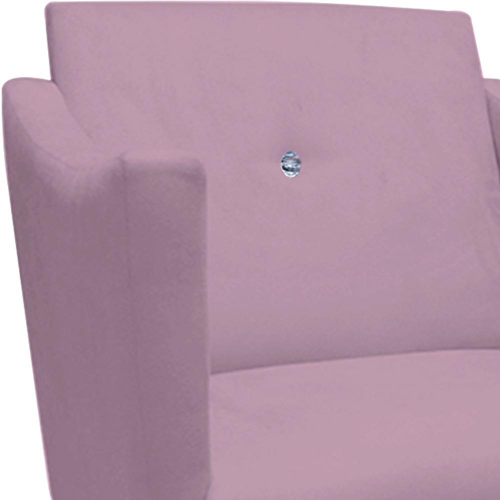 Kit 2 Poltrona Naty Strass Decoração Cadeira Clinica Recepção Salão Escritório D'Classe Decor Suede Rosa Bebê