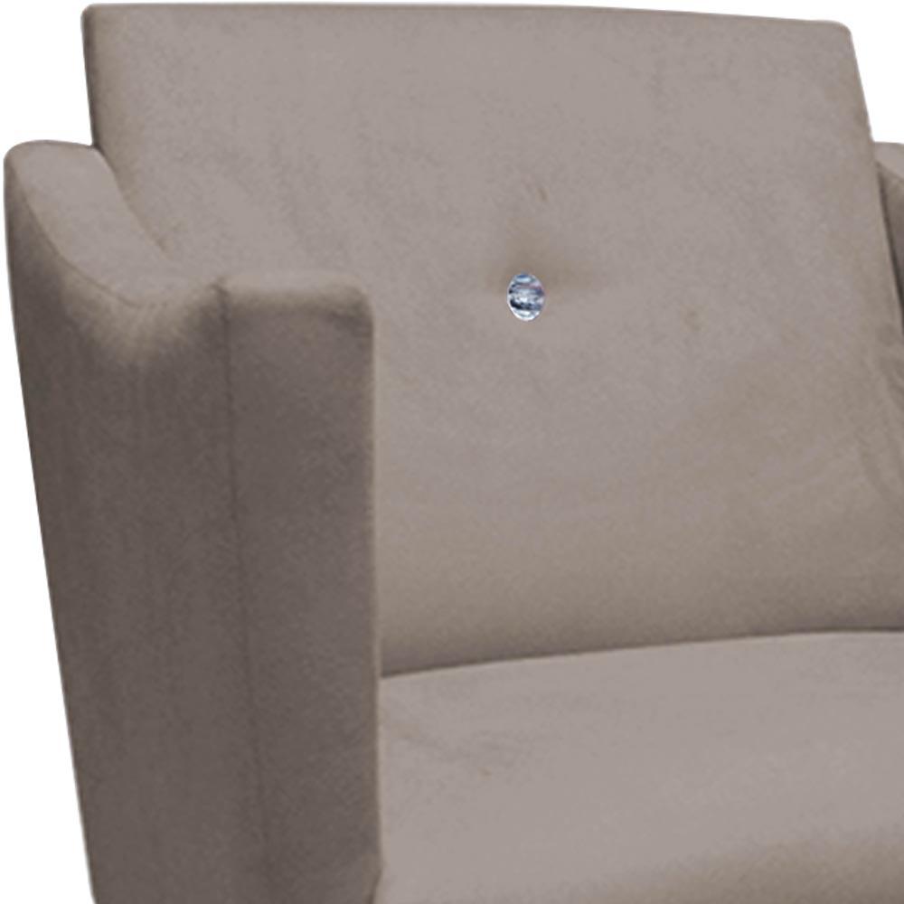 Kit 2 Poltrona Naty Strass Decoração Cadeira Clinica Recepção Salão Escritório D'Classe Decor Suede Bege