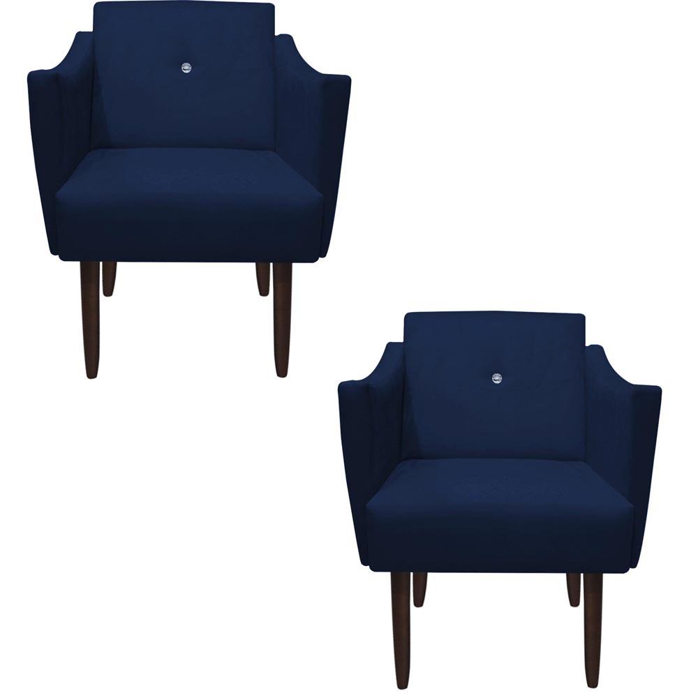 Kit 2 Poltrona Naty Strass Decoração Cadeira Clinica Recepção Salão Escritório D'Classe Decor Suede Azul Marinho
