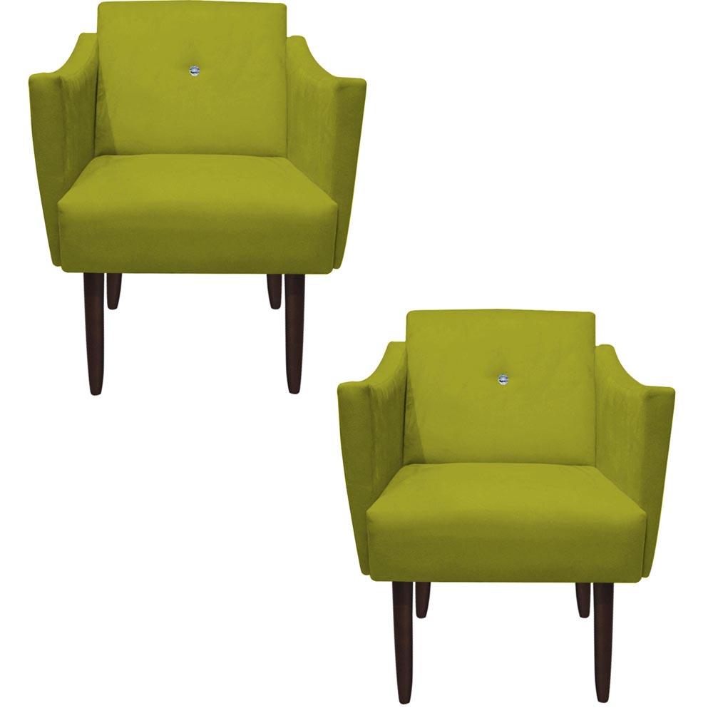 Kit 2 Poltrona Naty Strass Decoração Cadeira Clinica Recepção Salão Escritório D'Classe Decor Suede Amarelo