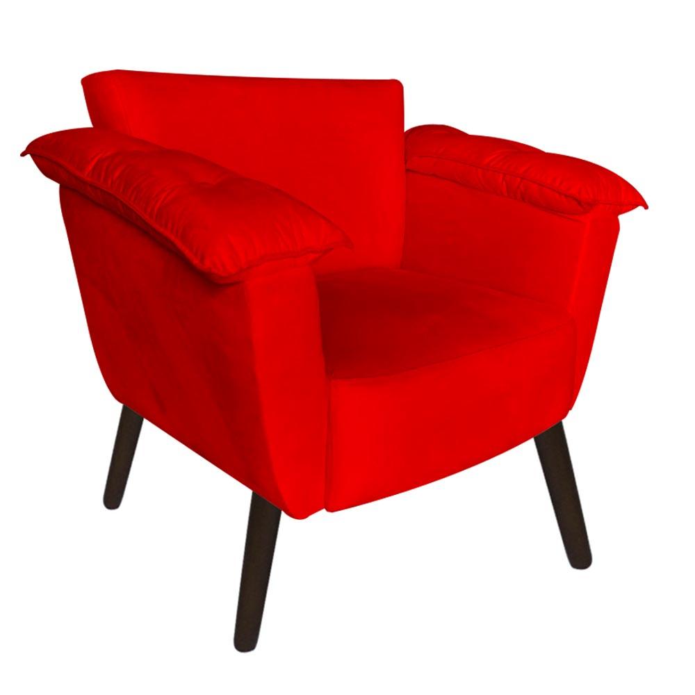 Kit 2 Poltrona Ruby Decoração Robusta Amamentação Pé Palito Sala Estar Escritório Quarto D'Classe Decor Suede Vermelho