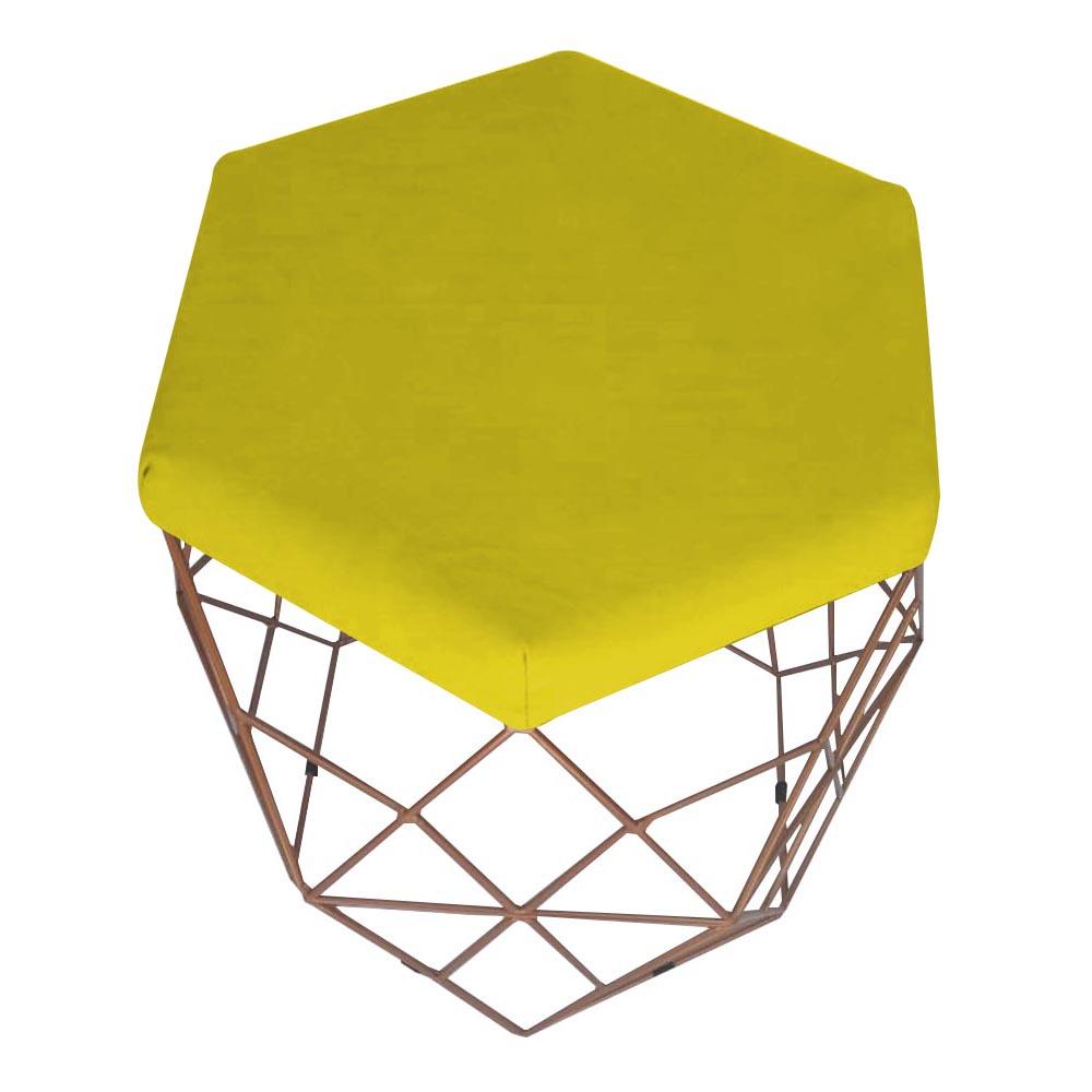 Kit 2 Puff Diamante Aramado Decoração Banqueta Salão Sala Estar Quarto D'Classe Decor Suede Amarelo