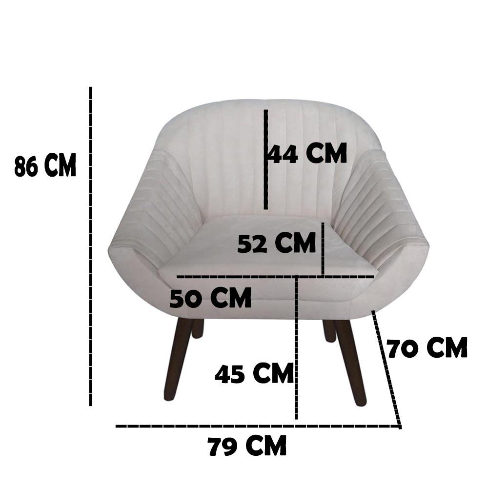 Kit 3 Poltrona Anitta Decoração Recepção Clínica Pé Palito Moderna Quarto Salão D'Classe Decor Suede Bege