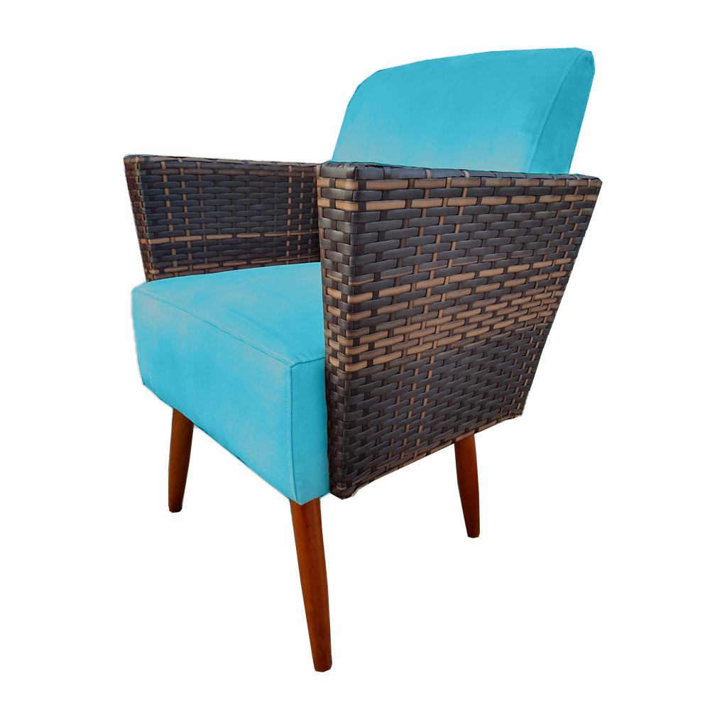 Kit 3 Poltrona Chanel Decoração Pé Palito Cadeira Escritório Clinica Estar Suede Azul Tiffany