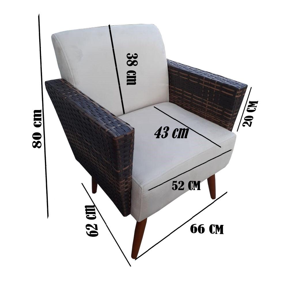 Kit 3 Poltrona Chanel Decoração Pé Palito Cadeira Escritório Clinica Estar Suede Marrom Rato
