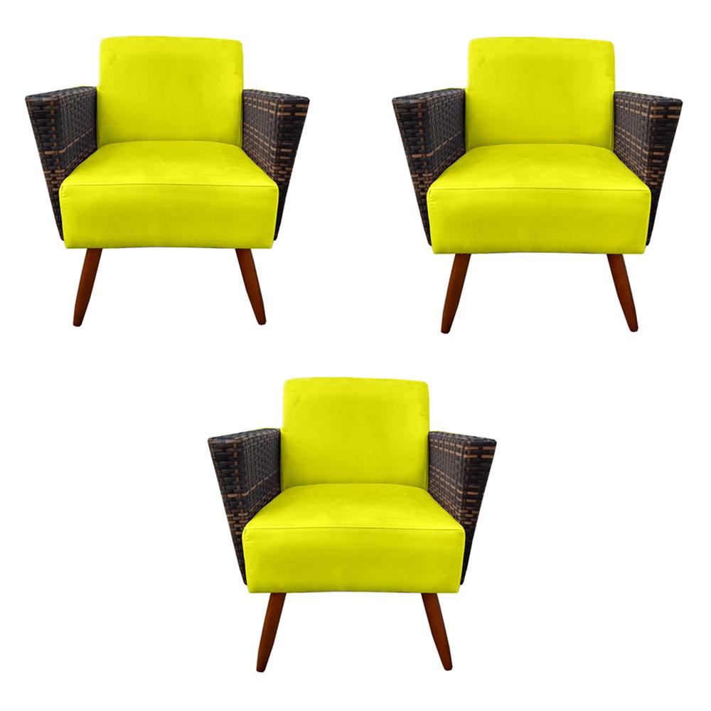 Kit 3 Poltrona Chanel Decoração Pé Palito Cadeira Escritório Clinica Jantar Estar Suede Amarelo