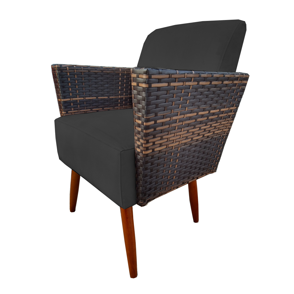 Kit 3 Poltrona Chanel Decoração Pé Palito Cadeira Escritório Clinica Jantar Estar Suede Preto