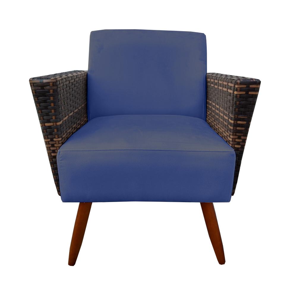 Kit 3 Poltrona Chanel Decoração Pé Palito Cadeira Escritório Clinica Jantar Sala Estar D'Classe Decor Suede Azul Marinho