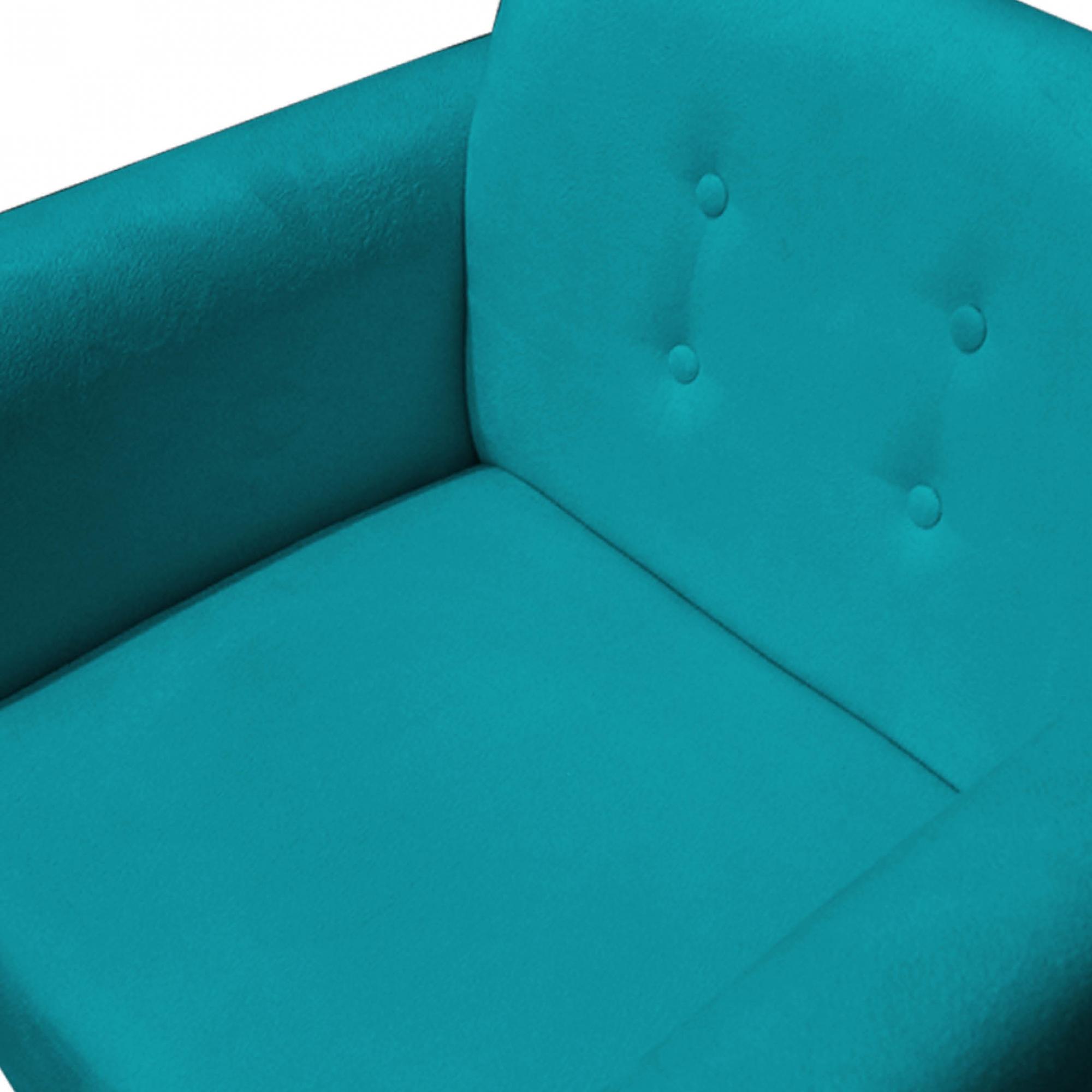 Kit 3 Poltrona Duda Decoraçâo Pé Palito Cadeira Recepção Escritório Clinica D'Classe Decor Suede Azul Tiffany