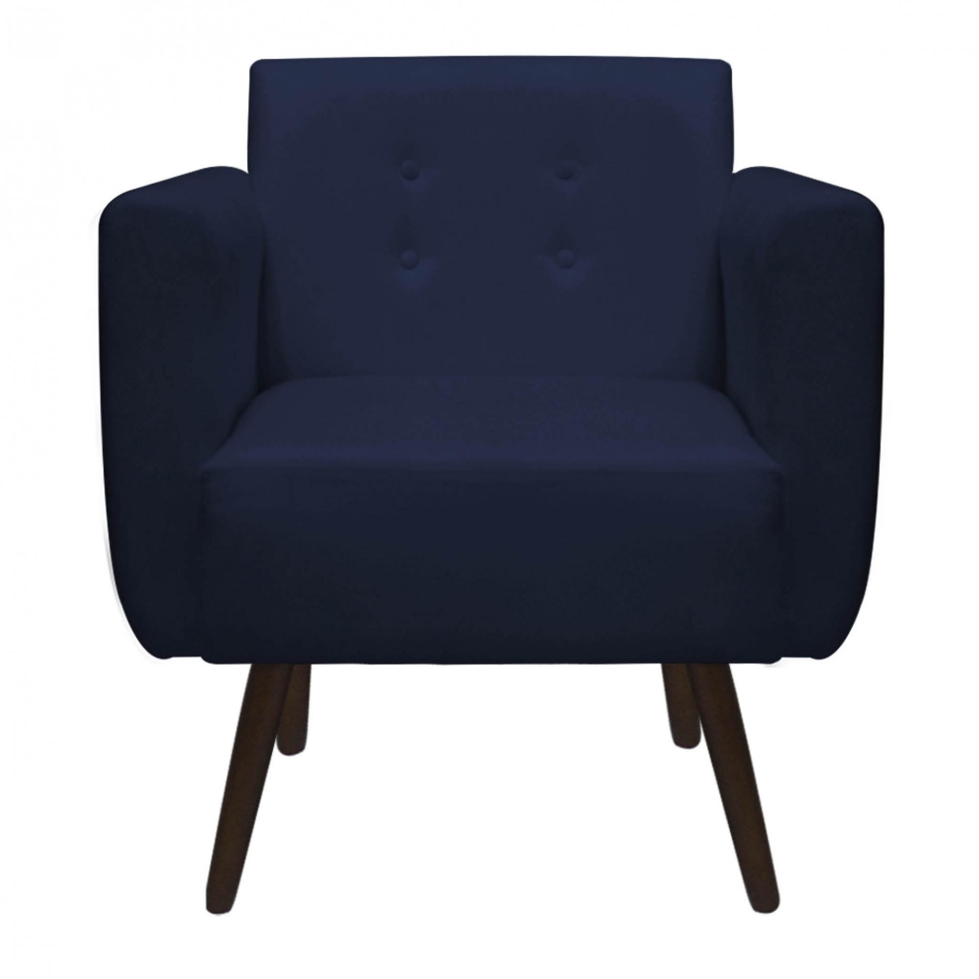 Kit 3 Poltrona Duda Decoraçâo Pé Palito Cadeira Recepção Escritório Clinica D'Classe Decor Suede Azul Marinho