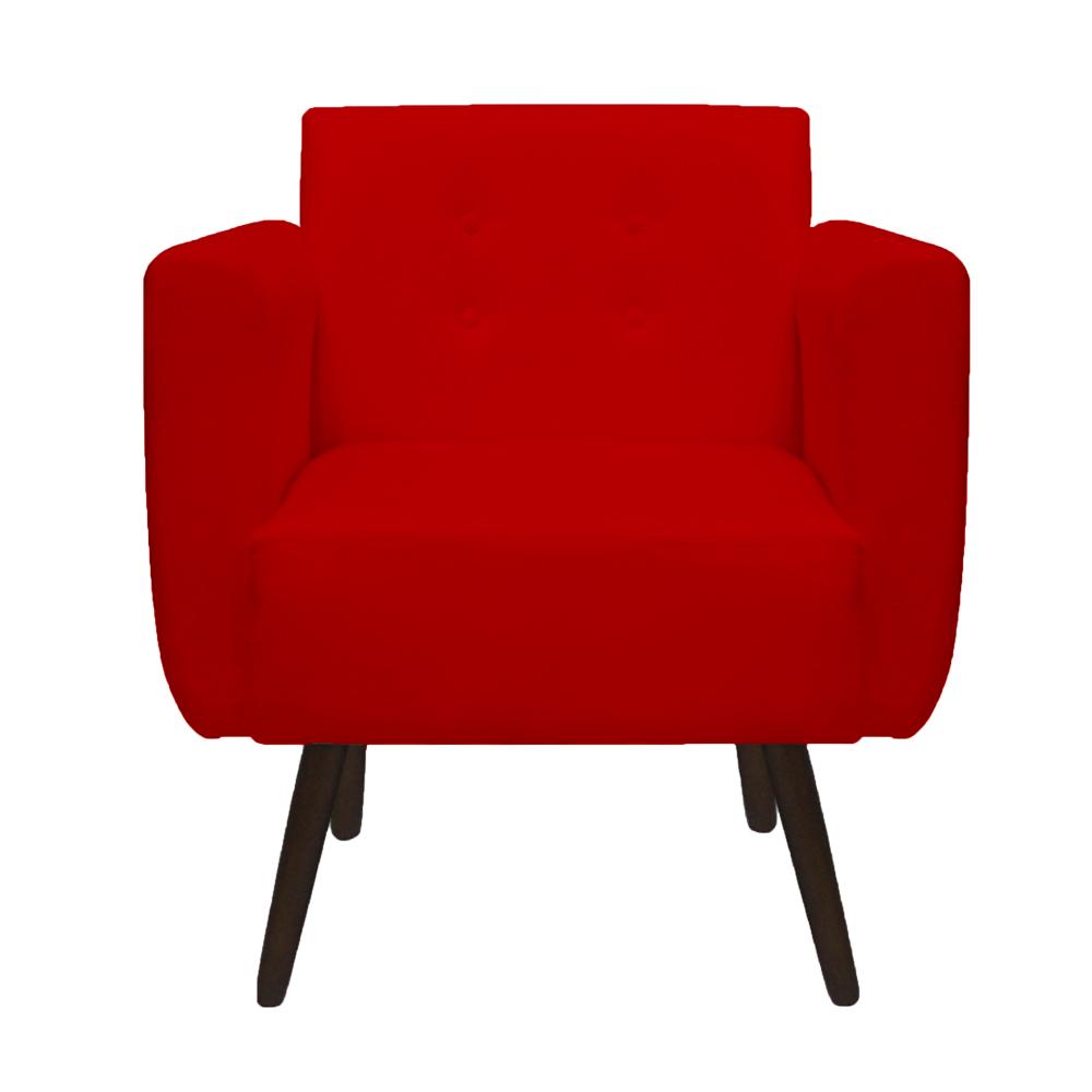 Kit 3 Poltrona Duda Decoraçâo Pé Palito Cadeira Recepção Escritório Clinica D'Classe Decor Suede Vermelho