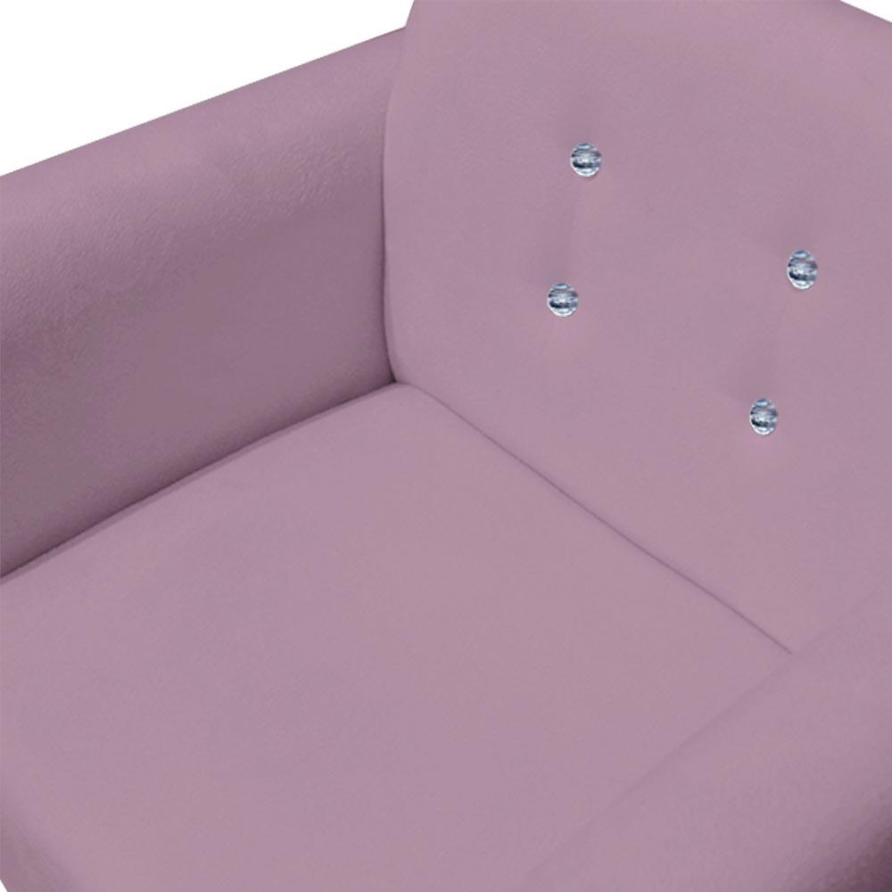 Kit 3 Poltrona Duda Strass Base Giratória Cadeira Escritório Consultório Salão D'Classe Decor Suede Rosa Bebê