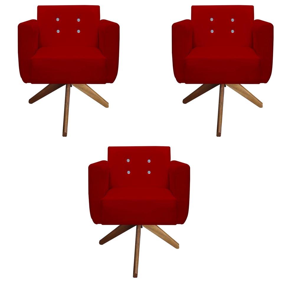 Kit 3 Poltrona Duda Strass Base Giratória Cadeira Escritório Consultório Salão D'Classe Decor Suede Vermelho