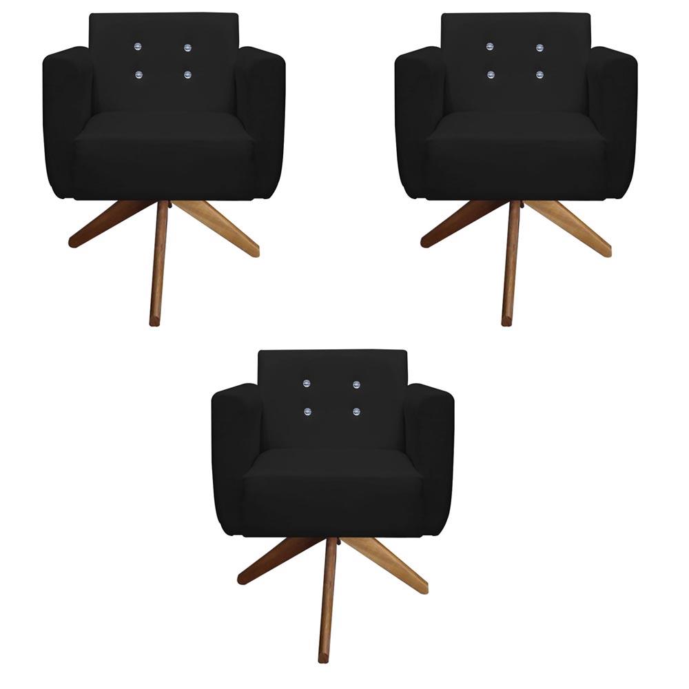 Kit 3 Poltrona Duda Strass Base Giratória Cadeira Escritório Consultório Salão D'Classe Decor Suede Preto