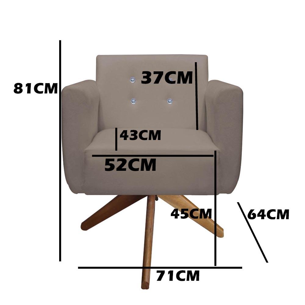 Kit 3 Poltrona Duda Strass Base Giratória Cadeira Escritório Consultório Salão D'Classe Decor Suede Marrom Rato