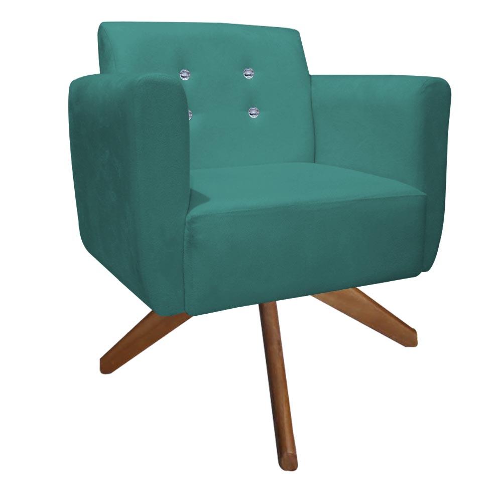 Kit 3 Poltrona Duda Strass Base Giratória Cadeira Escritório Consultório Salão D'Classe Decor Suede Azul Tiffany