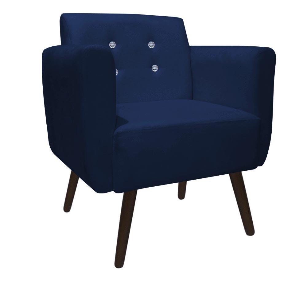 Kit 3 Poltrona Duda Strass Decoração Cadeira Escritório Consultório Salão D'Classe Decor Suede Azul Marinho