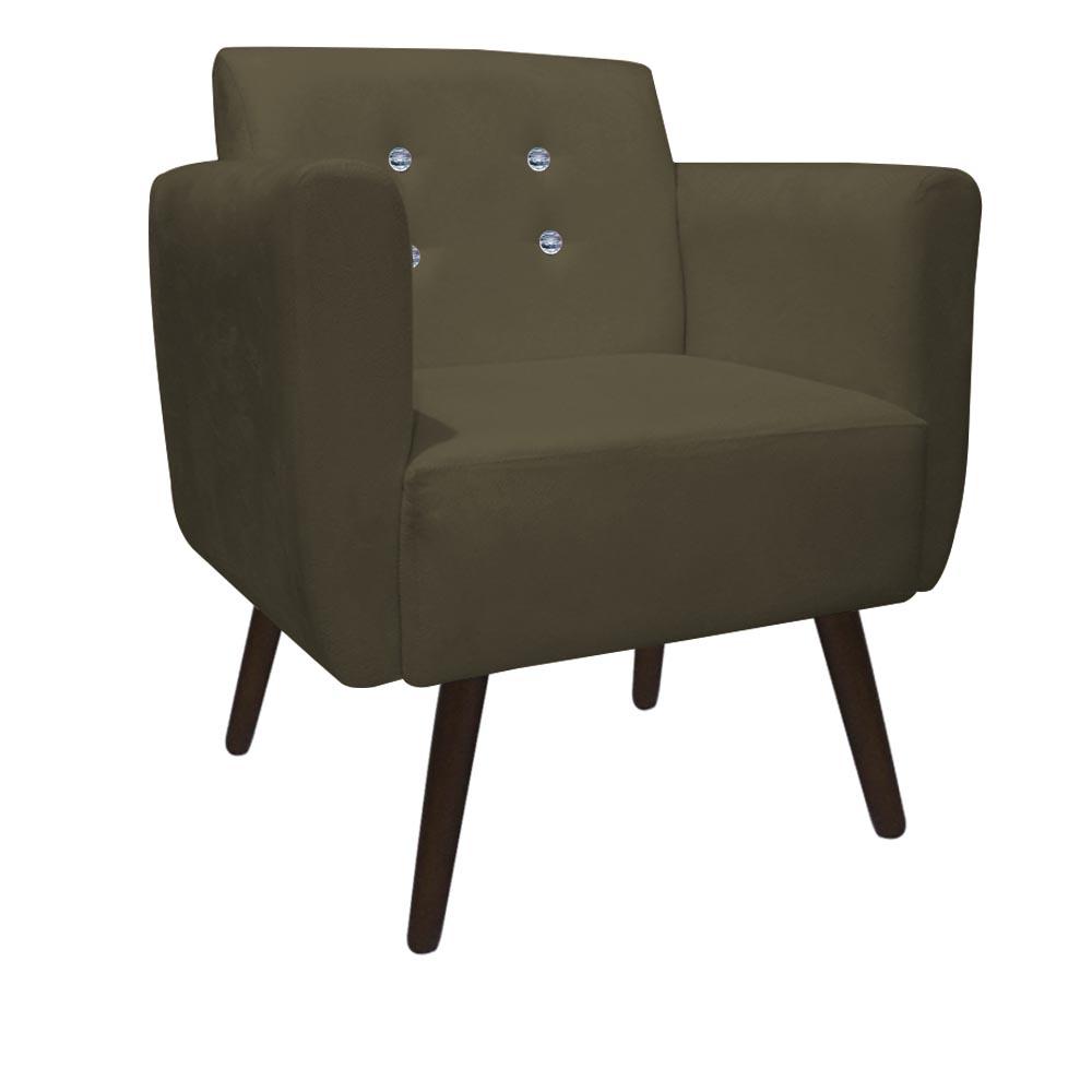 Kit 3 Poltrona Duda Strass Decoração Cadeira Escritório Consultório Salão D'Classe Decor Suede Marrom Rato