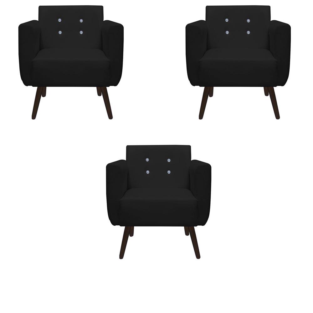 Kit 3 Poltrona Duda Strass Decoração Cadeira Escritório Consultório Salão D'Classe Decor Suede Preto