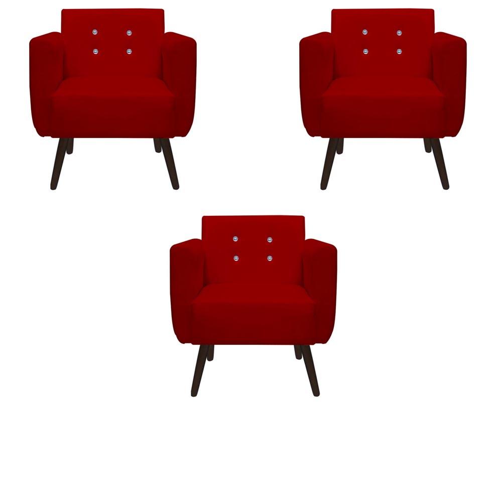 Kit 3 Poltrona Duda Strass Decoração Cadeira Escritório Consultório Salão D'Classe Decor Suede Vermelho