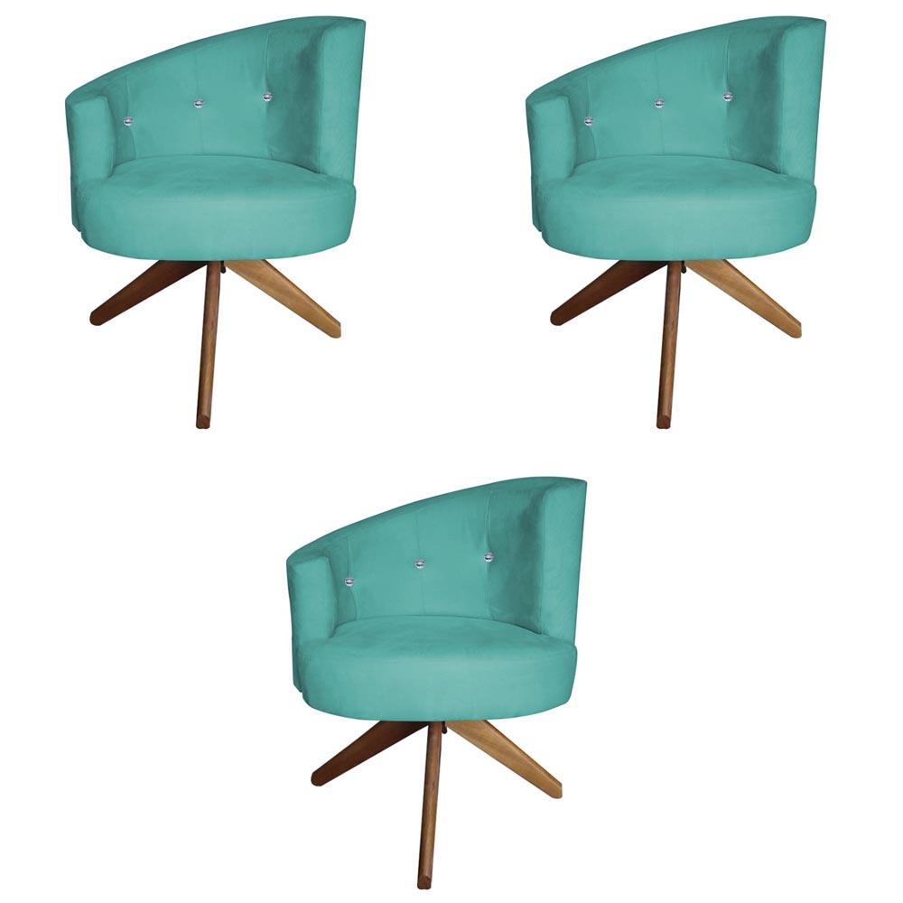 Kit 3 Poltrona Giovana Strass Decoração Base Giratória Clinica Escritório Recepção D'Classe Decor Suede Azul Tiffany
