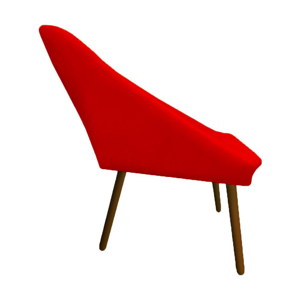 Kit 3 Poltrona Ibiza Triângulo Decoração Sala Clinica Recepção Escritório Quarto Cadeira D'Classe Decor Suede Vermelho
