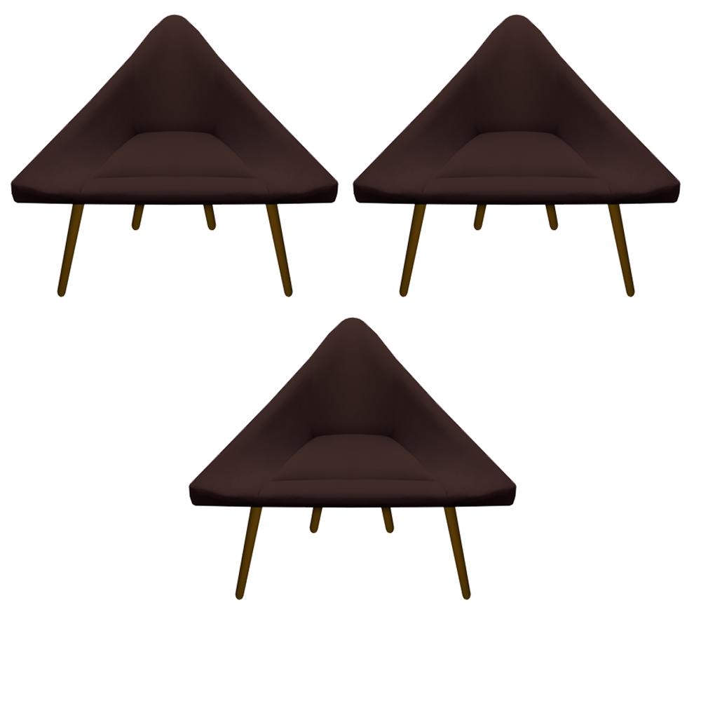 Kit 3 Poltrona Ibiza Triângulo Decoração Sala Clinica Recepção Escritório Quarto Cadeira D'Classe Decor Suede Marrom