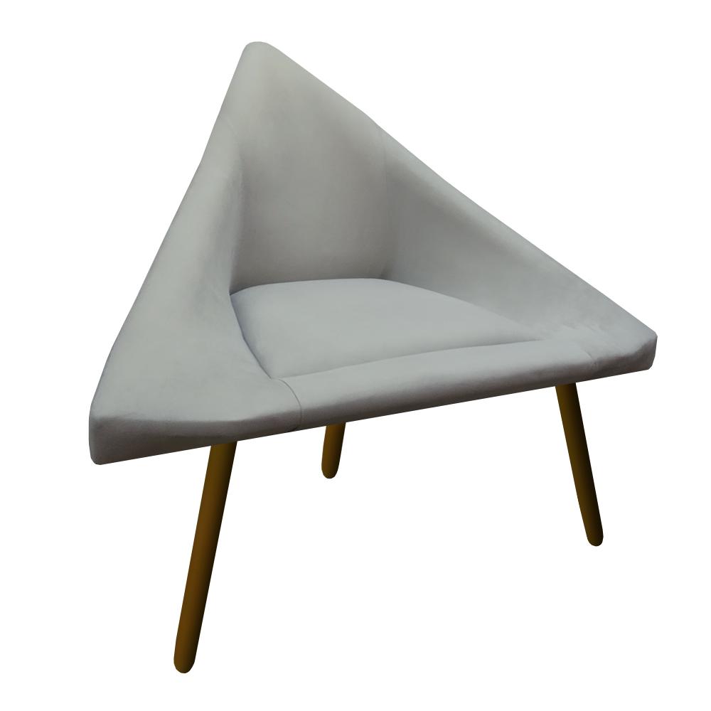 Kit 3 Poltrona Ibiza Triângulo Decoração Sala Clinica Recepção Escritório Quarto Cadeira D'Classe Decor Suede Bege