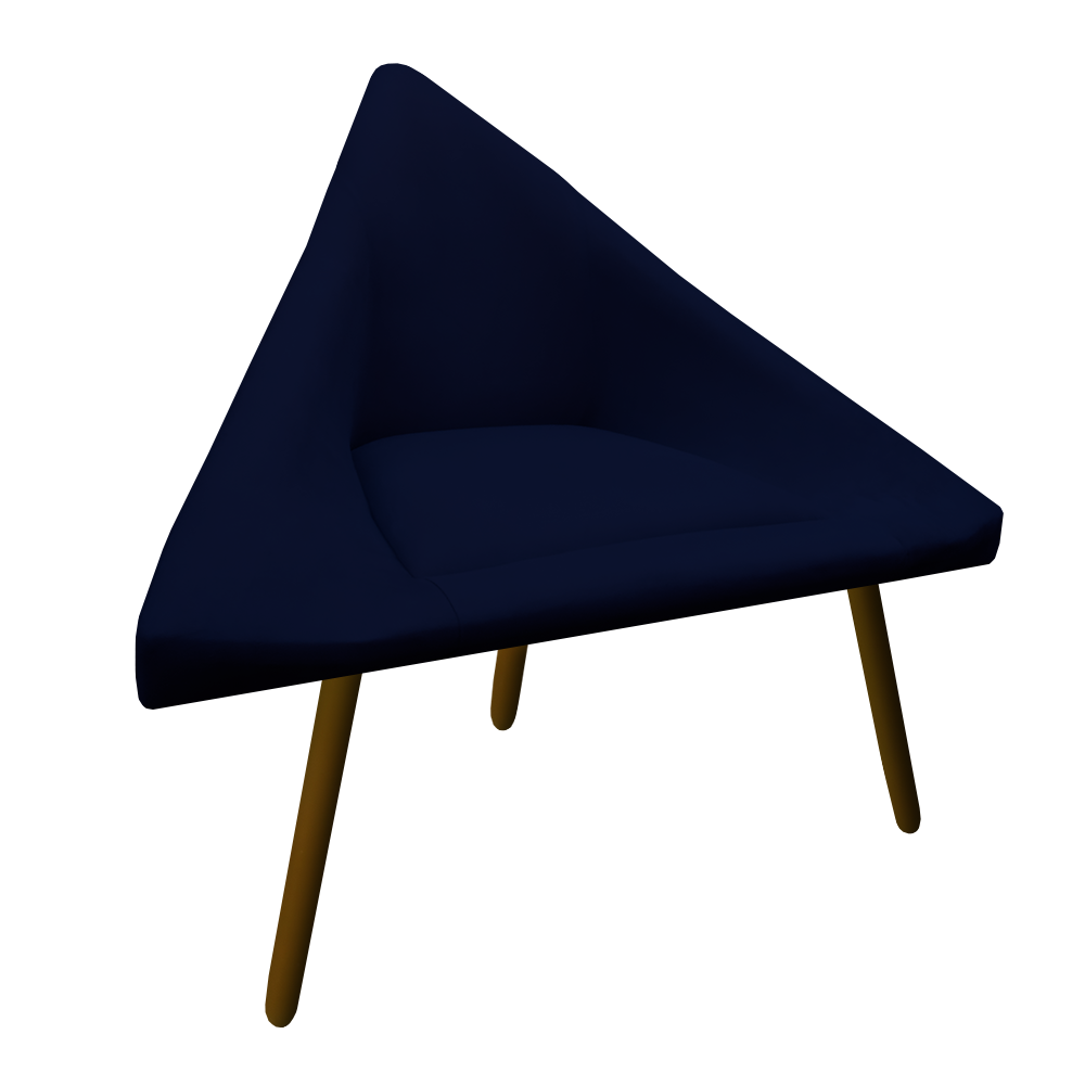 Kit 3 Poltrona Ibiza Triângulo Decoração Sala Clinica Recepção Escritório Quarto Cadeira D'Classe Decor Suede Az Marinho