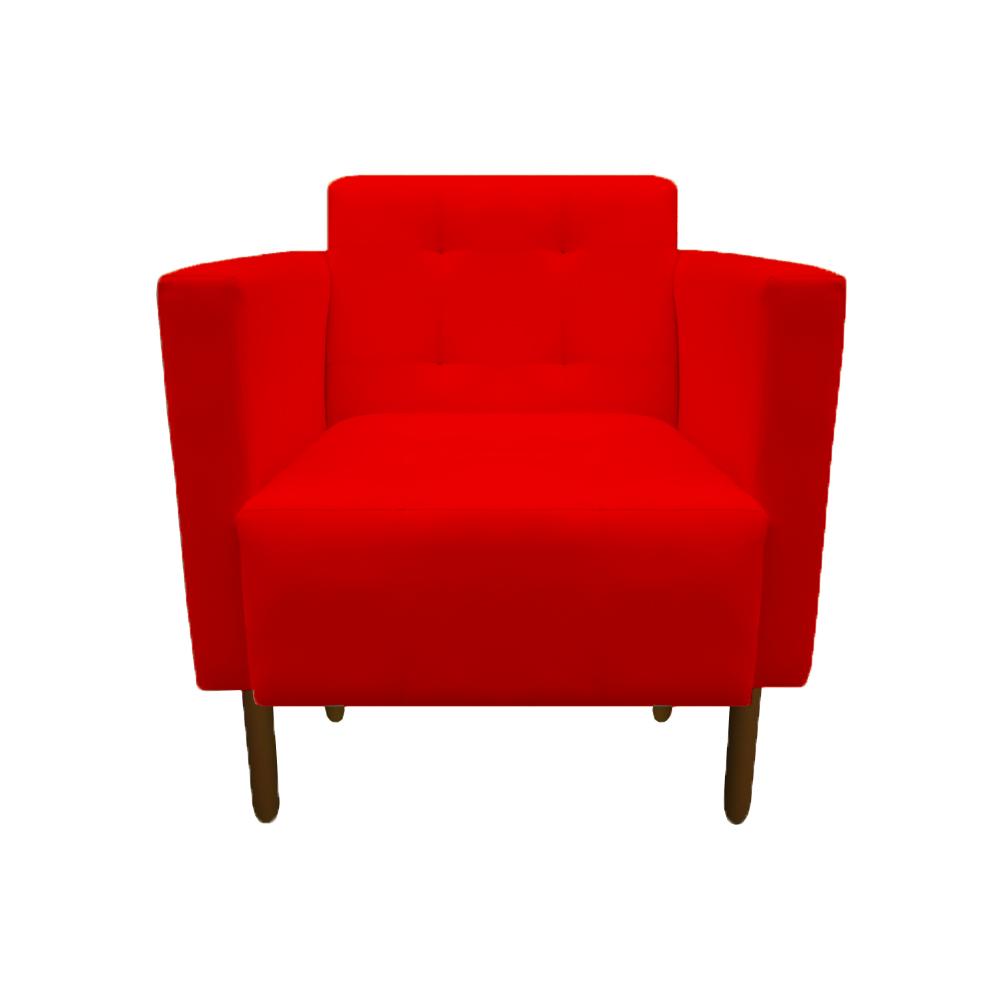Kit 3 Poltrona Isa Decoração Clinica Recepção Escritório Quarto Cadeira D'Classe Decor Suede Vermelho