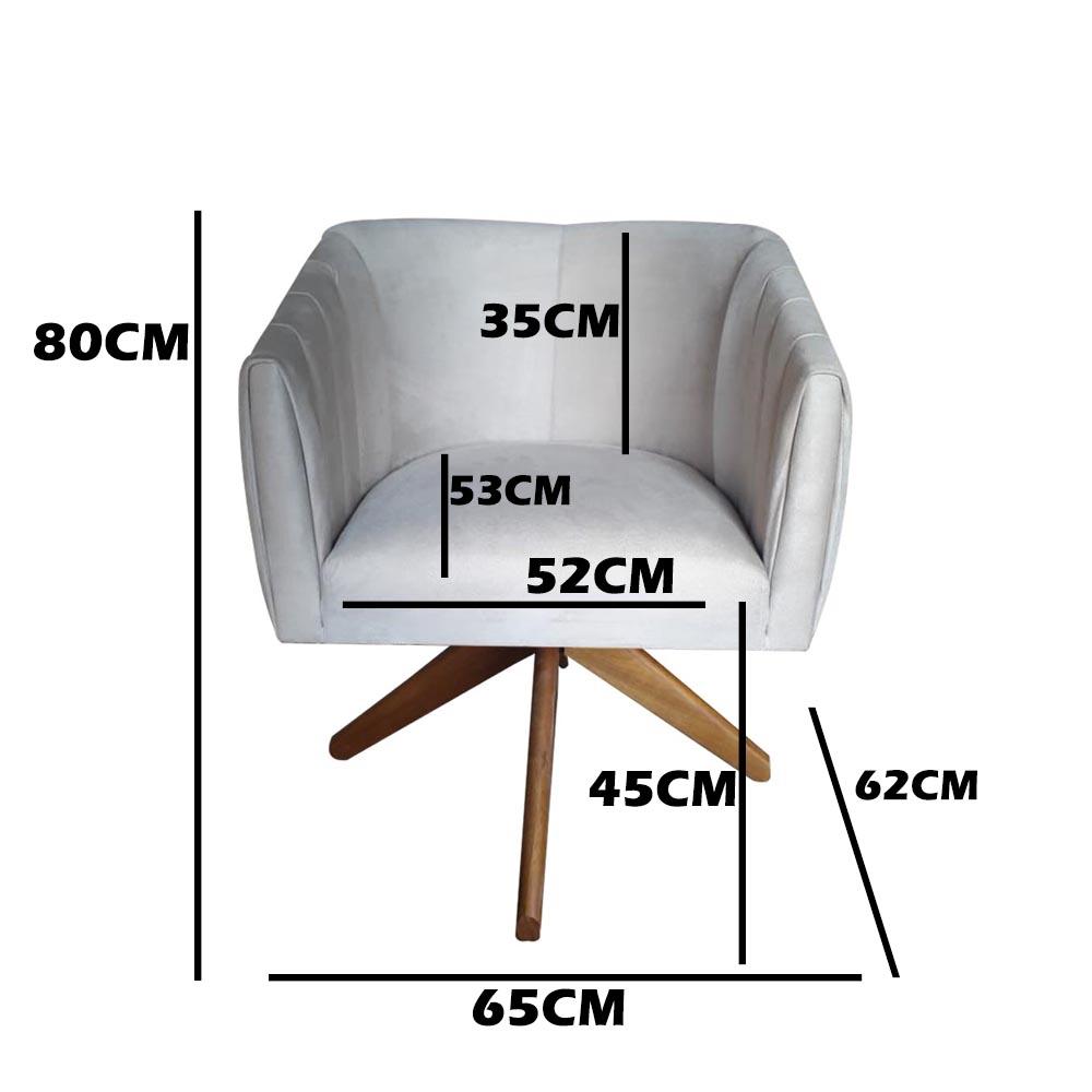 Kit 3 Poltrona Julia Decoração Base Giratória Salão Clinica Cadeira Escritório Recepção D'Classe Decor Suede Marrom Rato