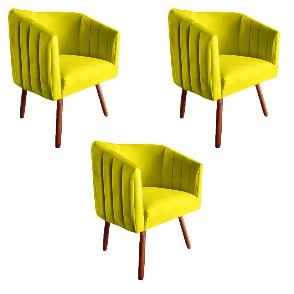 Kit 3 Poltrona Julia Decoração Salão Cadeira Escritório Recepção Estar Amamentação Suede Amarelo