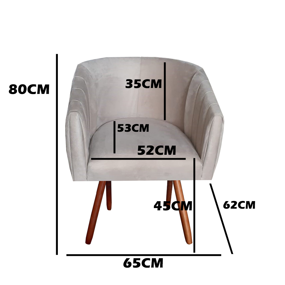 Kit 3 Poltrona Julia Decoração Salão Cadeira Escritório Recepção Estar Amamentação Suede Marrom